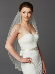 Mariell Ivory Medium Beaded Crystal Fingertip Length Bridal Veil