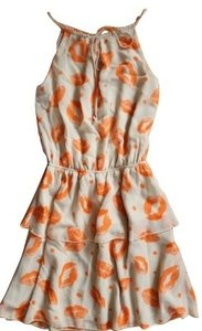 Anthropologie short dress Orange and cream on Tradesy