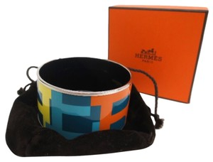 Hermès Hermes Multi Color Logo Cuff Bangle Bracelet In Box