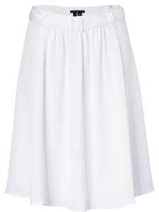 Theory Silk Pleated Airy Romantic Skirt White