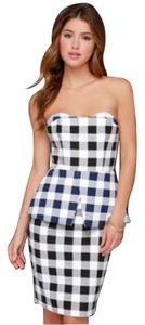 Finders Keepers short dress Black white blue on Tradesy