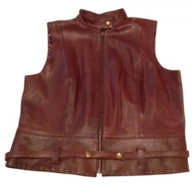 Item - Leather Zip-front Vest with Removable Belt At Waist. Brown Top