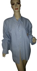 Ralph Lauren Button Down Shirt blue pin-stripe