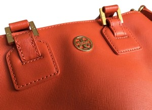 Tory Burch Leather Gold Tote in Tangerine