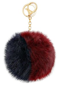 Burgundy Navy Color Block Pom Pom Rabbit Fur Bag/Purse Charm Key Chain