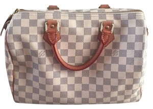 Louis Vuitton Lv Azur Damier Canvas Speedy 30 Satchel