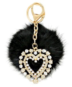 Other Black Pom Pom Rabbit Fur Rhinestone Crystal Heart Pendant Bag/Purse Charm Key Chain