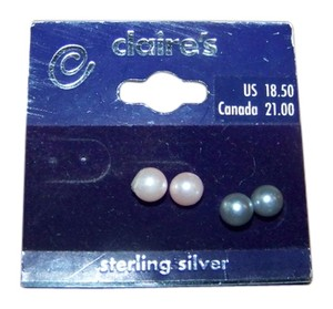 Claire's 2 Pairs Claire's Sterling Silver Pink Pearl and Gray Pearl Stud Earrings FREE LOVE RINGS
