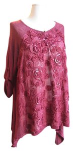 Etoile Maternity Style Loose Comfy Shirt Sequins Burgandy Fabric Flowers Sweater