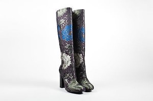 Etro Brown Green Blue Brocade Tall Knee High Multi-Color Boots