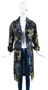 Marni Black Yellow Gray Wool Silk Blend Floral Print Long Multi-Color Jacket