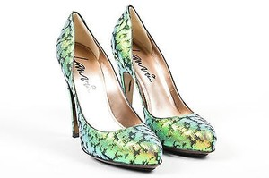 Lanvin Brocade Green Pumps