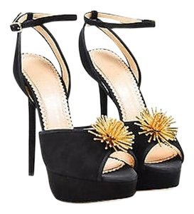 Charlotte Olympia Gold Black Sandals