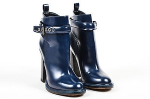 Etro Navy Polished Leather Blue Boots
