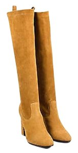 Pierre Hardy Hardy Suede Leather Ribbed Knee High Tan Boots