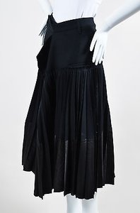 Haider Ackermann Wool Pleated Wrap Midi Skirt Black
