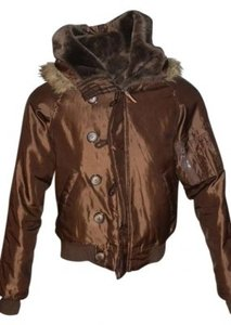 Wet Seal Jacket With Hood Trimmed In Faux Fur Brown Size S Zipper Down Center Of Hood Faux Fur Lined Hood Jacket
