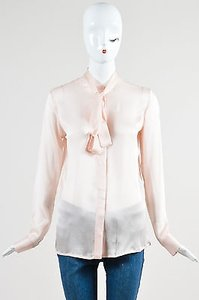 Haider Ackermann Silk Neck Tie Button Up Ls Shirt Top Pink