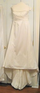 David's Bridal Mikado Ruffle Back Gown Wedding Dress