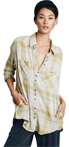 Free People Button Down Shirt Charcoal combo