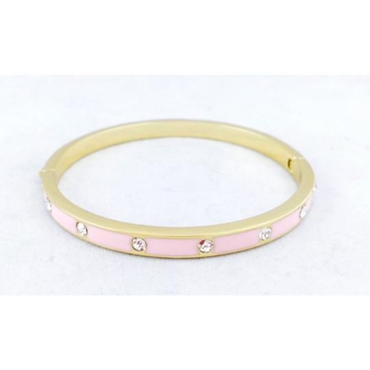 Kate Spade Pink Set In Stone Enamel Stone Hinged Bangle In