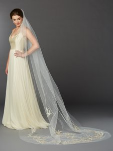 Mariell Stunning Silver And Gold Lace Cathedral Wedding Veil In Ivory