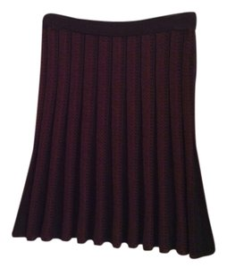 Max Studio Apparel Pleaded Rayon Office Wear Skirt Wine and Black