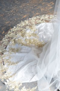 Cathedral Length Wedding Veil With Gold Metallic Lace