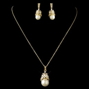 Elegance By Carbonneau Gold Plated Cz And Pearl Bridal Jewelry Set