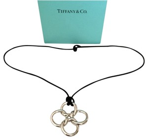 Tiffany & Co. Huge Quadrifoglio & Black Silk Cord Necklace