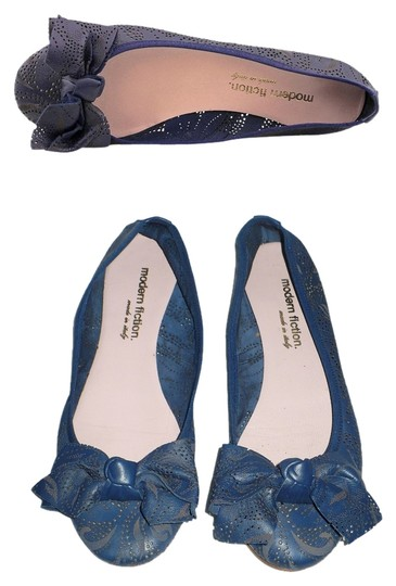 Modern Fiction Ballet Perforated Blue Flats Image 0