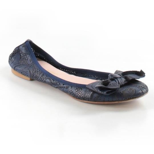 Modern Fiction Ballet Perforated Blue Flats Image 1