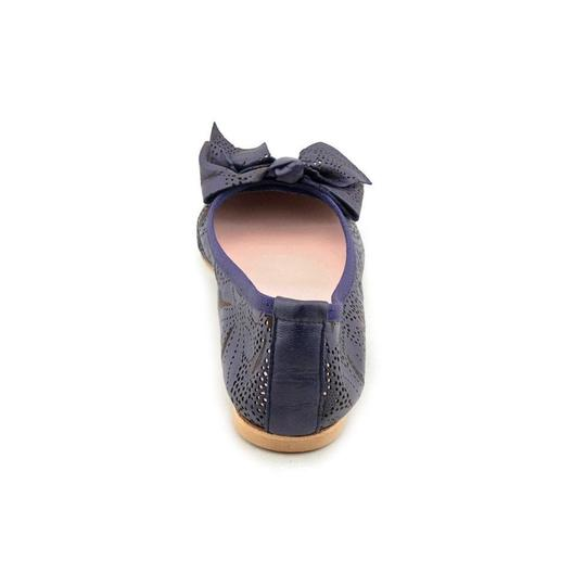 Modern Fiction Ballet Perforated Blue Flats Image 10