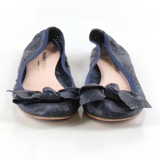 Modern Fiction Ballet Perforated Blue Flats Image 2