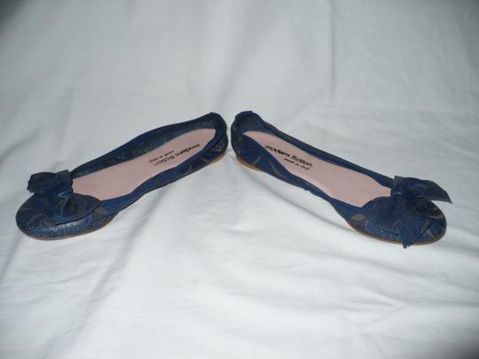 Modern Fiction Ballet Perforated Blue Flats Image 3