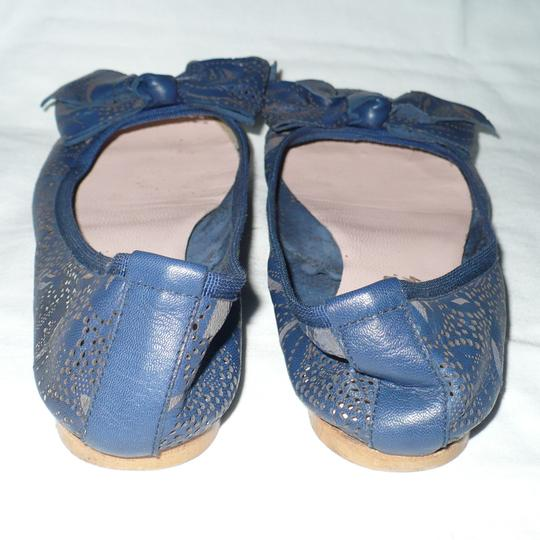 Modern Fiction Ballet Perforated Blue Flats Image 5