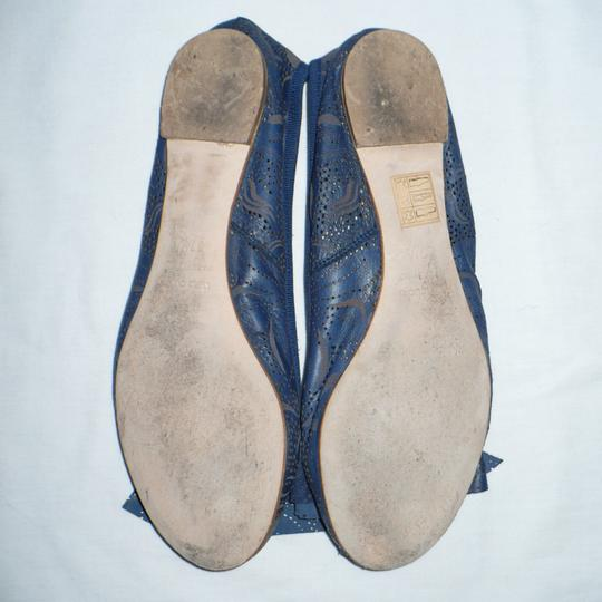Modern Fiction Ballet Perforated Blue Flats Image 6