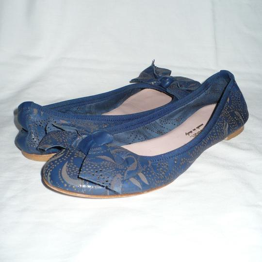 Modern Fiction Ballet Perforated Blue Flats Image 7