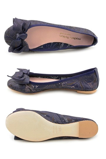 Modern Fiction Ballet Perforated Blue Flats Image 9