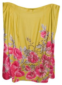 Odille Anthropologie Maxi Skirt Yellow magenta and silver beading