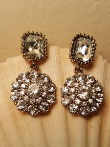 Wedding Art Deco Earrings Gold Plated Austrian Crystals