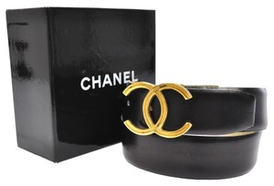 Chanel Auth CHANEL CC Logos Buckle Belt Black Gold #60/24 Leather France Vintage