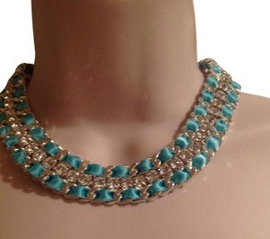 other -(Choker-like) Bling Necklace with ribbons thru Other - Bling Choker (Bright Silver)