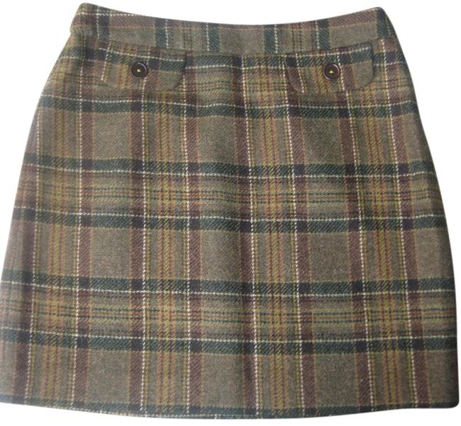 Item - Brown/Olive Multi Plaid Lined Wool Skirt Size 8 (M, 29, 30)