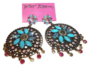 Betsey Johnson Betsey Johnson Turks & Caicos Large Turquoise Medallion Drop Earrings NWT $55