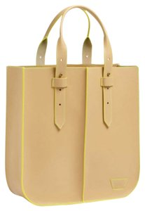 Joy Gryson Tote in Beige/yellow Pipping