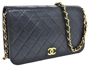 Chanel Auth CHANEL Quilted CC Logos Chain Shoulder Bag Navy Leather Vintage WOC Lamb Skin