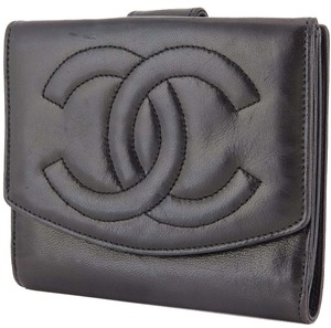 Chanel Auth CHANEL Black Lambskin CC Logo Double Snap Bifold Wallet Coin Purse