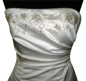 MAGGIE SOTTERO White Satin Gold Embroidery Dress