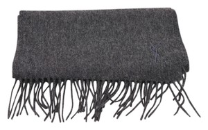 Saint Laurent Yves Saint Laurent Gray Cashmere Blend Fringe Scarf